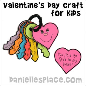 Valentine's Day Craft - You Hold the Keys to My Heart Paper Key and Heart Craft for Kids from www.daniellesplace.com