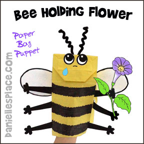 Bee Paper Bag Puppet Craft from www.daniellesplace.com