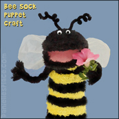 Bee Sock Puppet Craft from www.daniellesplace.com