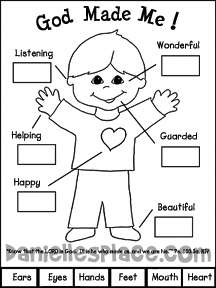 God Made Me Printable Activity Sheet for Sunday School from www.daniellesplace.com