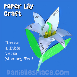 Paper Lily Craft for Kids for The Beatitudes Bible Lesson from www.daniellesplace.com