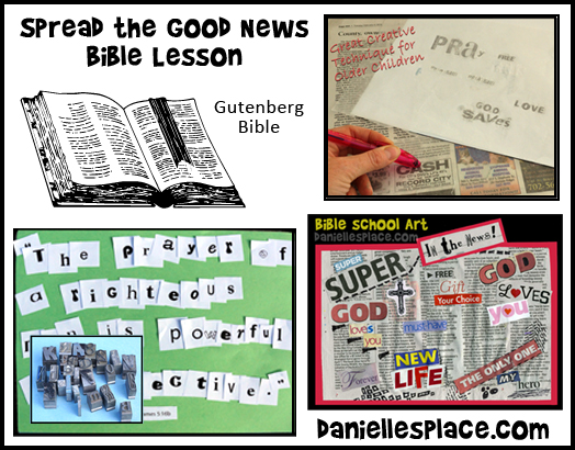 "Spread the ""Good News"" Bible Lesson Crafts and Activities for Children's Sunday School from www.daniellesplace.com"