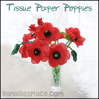 Tissue Paper Poppy Craft for Kids from www.daniellesplace.com
