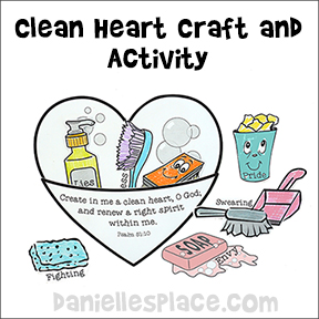 Clean Heart Craft and Activity for Beatitude Lesson for Children from www.daniellesplace.com