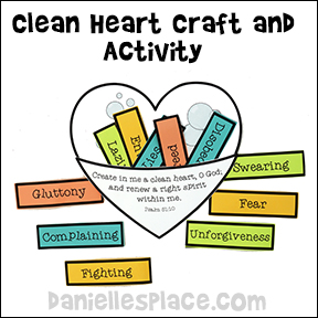 Clean Heart Craft and Activity for Children for Beatitude Lesson from www.daniellesplace.com