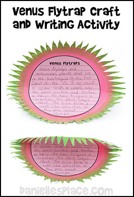 Venus fly trap crafts and learning activities for children venus flytrap paper plate craft with writing sheet template from daniellesplace ccuart Choice Image