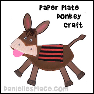 Paper Plate Donkey Craft for Palm Sunday School Lesson for Children from www.daniellesplace.com