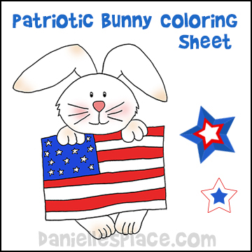 Patriotic Bunny Coloring Sheet Craft from www.daniellesplace.com