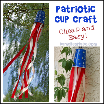 fourth of july cup windsock craft for kids   patriotic windsock