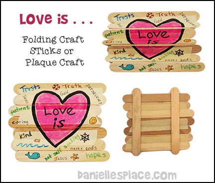 Love Is . . . Folding Craft Stick Craft or Plaque Craft from www.daniellesplace.com