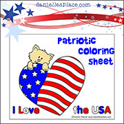 Kitty Coloring Sheet-Patriotic Coloring Sheet