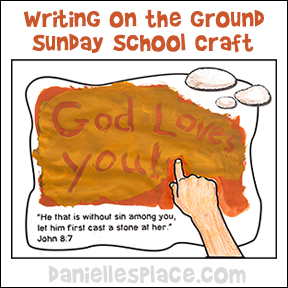 "Bible Activity Sheet for Sunday School - ""Writing on the Ground"" from www.daniellesplace.com"