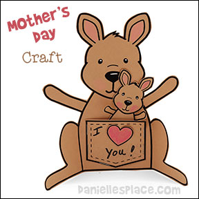 Mother's Day Craft - Kangaroo Mother and Joey Paper Craft from www.daniellesplace.com