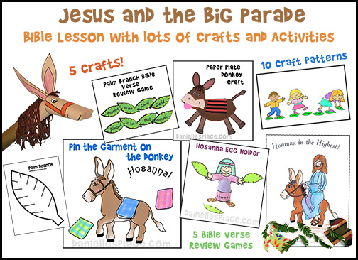 Palm Sunday Bible Lesson with Printable Craft and Fun Activities for all ages from www.daniellesplace.com