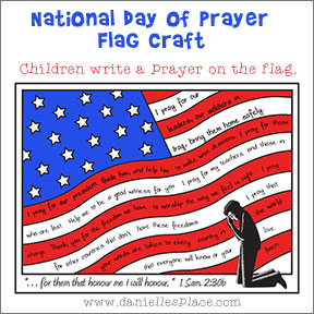 National Day of Prayer Flag Coloring and Activity Sheet - Children write a prayer on the flag from www.daniellesplace.com