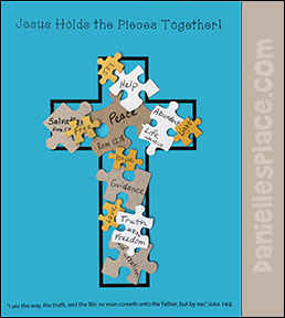 Jesus Holds the Pieces Together! Cross and Puzzle Piece Craft from www.daniellesplace.com