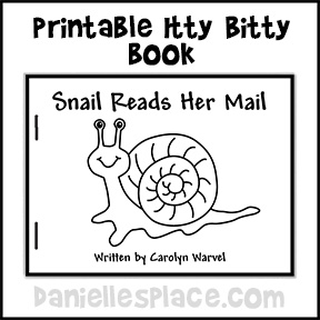 Printable Itty bitty Book Snail Reads Her Mail from www.daniellesplace.com