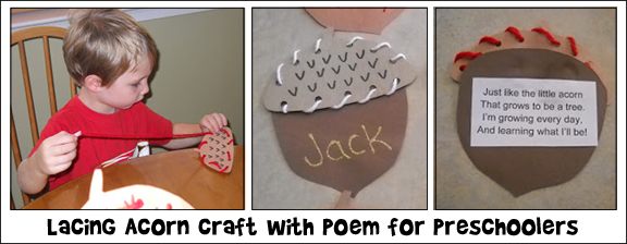 Lacing Acorn Craft with Poem for Preschollers from www.daniellesplace.com
