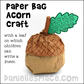 Paper Bag Acorn with Leaf writing Activity from www.daniellesplace.com