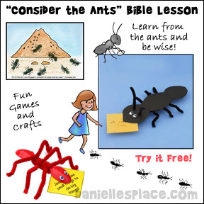 "Free ""Consider the Ants' Sunday School Lesson from www.daniellesplace.com"