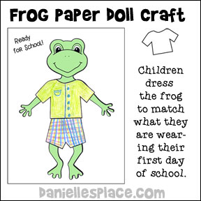 Frog Paper Doll Craft from www.daniellesplace.com