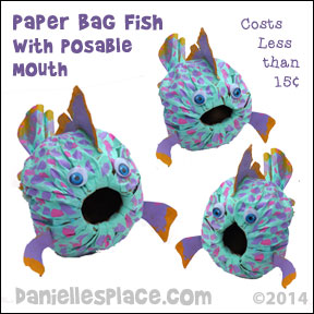 Paper Bag Fish Craft with Posable Mouth from www.daniellesplace.com ©2014