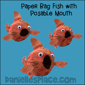 Paper Bag Fish with Posable Mouth Craft from www.daniellesplace.com