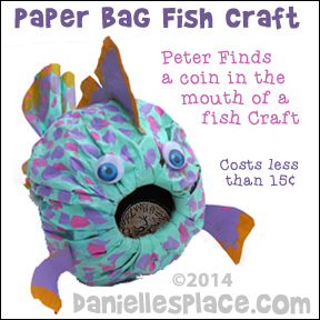 Paper Bag Fish Craft - Peter Finds a Coin in a Fishes Mouth Bible Craft for Sunday School from www.daniellesplace.com