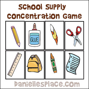 School supply concentratoin game from www.daniellesplace.com