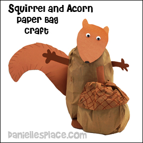 Paper Bag Squirrel with Giant Paper Bag Acorn Craft for Kids