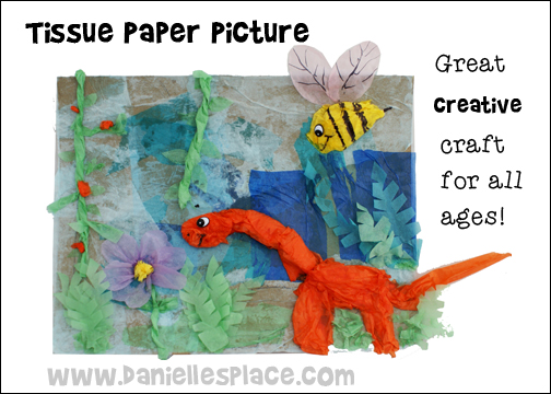 Tissue paper picture Craft from www.daniellesplace.com