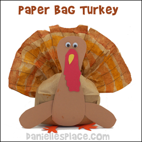 Turkey Paper Bag Craft for Kids from www.daniellesplace.com