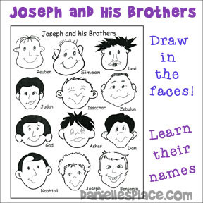 Joseph and His Brothers Activity Sheet - Learn the Names of Joseph's Brothers - Craft and Activity Sheet from www.daniellesplace.com