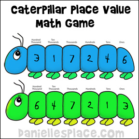 Caterpillar Place Value Math Game from www.daniellesplace.com