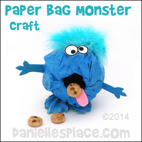 Paper Bag Monster Craft for Kids from www.daniellesplace.com ©2014