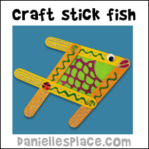 Craft Stick Fish Craft from www.daniellesplace.com - Lake Shore Learning used this craft from www.daniellesplace.com for their free in store craft classes.