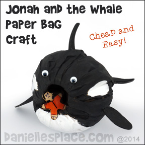 Jonah and the Whale Paper Bag Craft for Sunday School from www.daniellesplace.com �2014