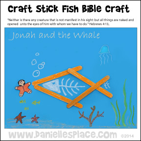 Jonah and the Whale Craft Stick Craft from www.daniellesplace.com �2014
