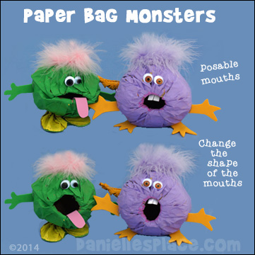 Paper Bag Monster Crafts for Kids from www.daniellesplace.com ©2014