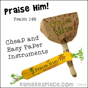 Praise Him - Paper Musical Instruments Bible Craft for Sunday School