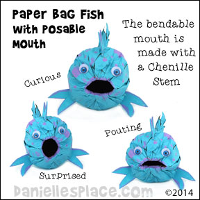 Pout-pout fish Craft - Paper Lunch Bag Fish with posable Mouth Craft from www.daniellesplace.com