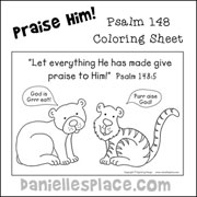 Praise Him Coloring Sheet Bible Craft for Sunday School from www.daniellesplace.com