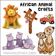 African Animal Crafts for Kids from www.daniellesplace.com
