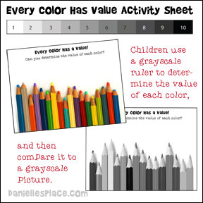Every Color Has Value Activity Printable Activity Sheet from www.daniellesplace.com