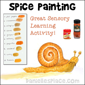Spice Painting - Use spices from your cubbard to make paints - Great sensory learning activity for children from www.daniellesplace.com