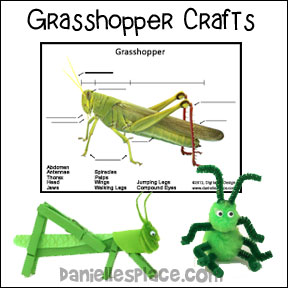 Grasshopper Clothes Pin Craft for Kids from www.daniellesplace.com