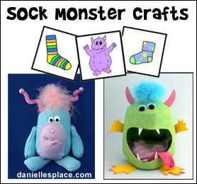 Sock Monster Crafts from www.daniellesplace.com