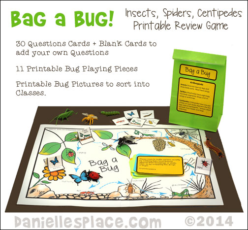 Bag A Bug - Insect, Spider, Centipede Prinatable Review Game and Sorting Activity from www.daniellesplace.com where Learning is Fun!