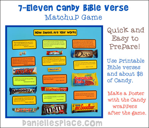 7-Eleven Candy Bible Verse Match Game from www.daniellesplace.com ©2014