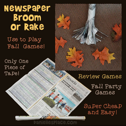 How to Make a Newspaper Rake with One Piece of Tape to use for Fall Games from www.daniellesplace where learning is fun!